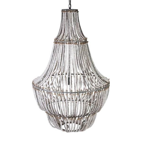 whte wooden bead chandelier