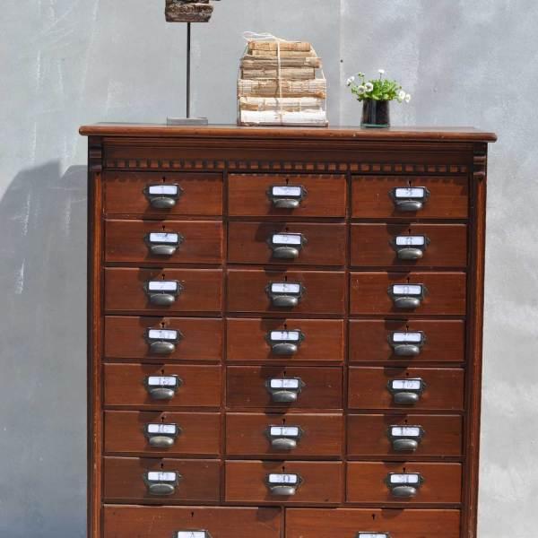 Multi drawer Dark Wood Filing Cabinet