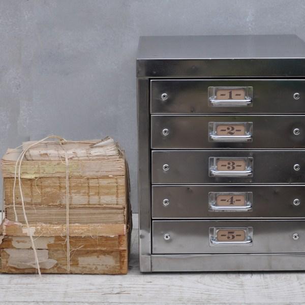 Vintage Industrial Steel Filing Cabinet 5 Drawer