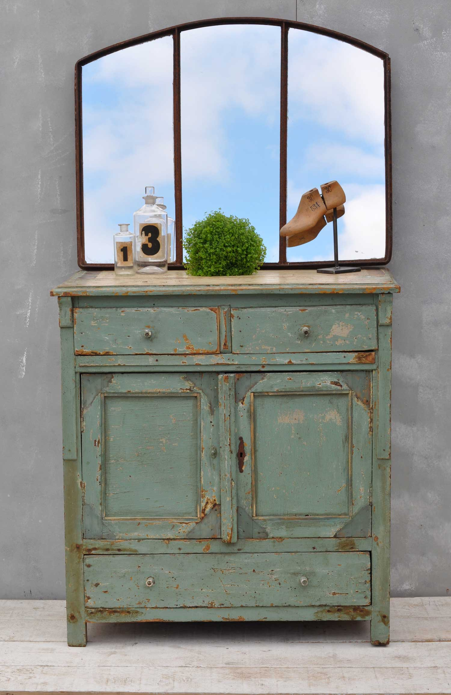Vintage French Cupboard - Aquamarine Green Cabinet - Original Paintwork