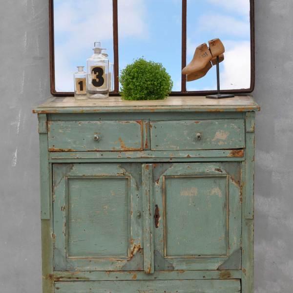Vintage French Cupboard - Aquamarine Green Cabinet - Original Paintwork
