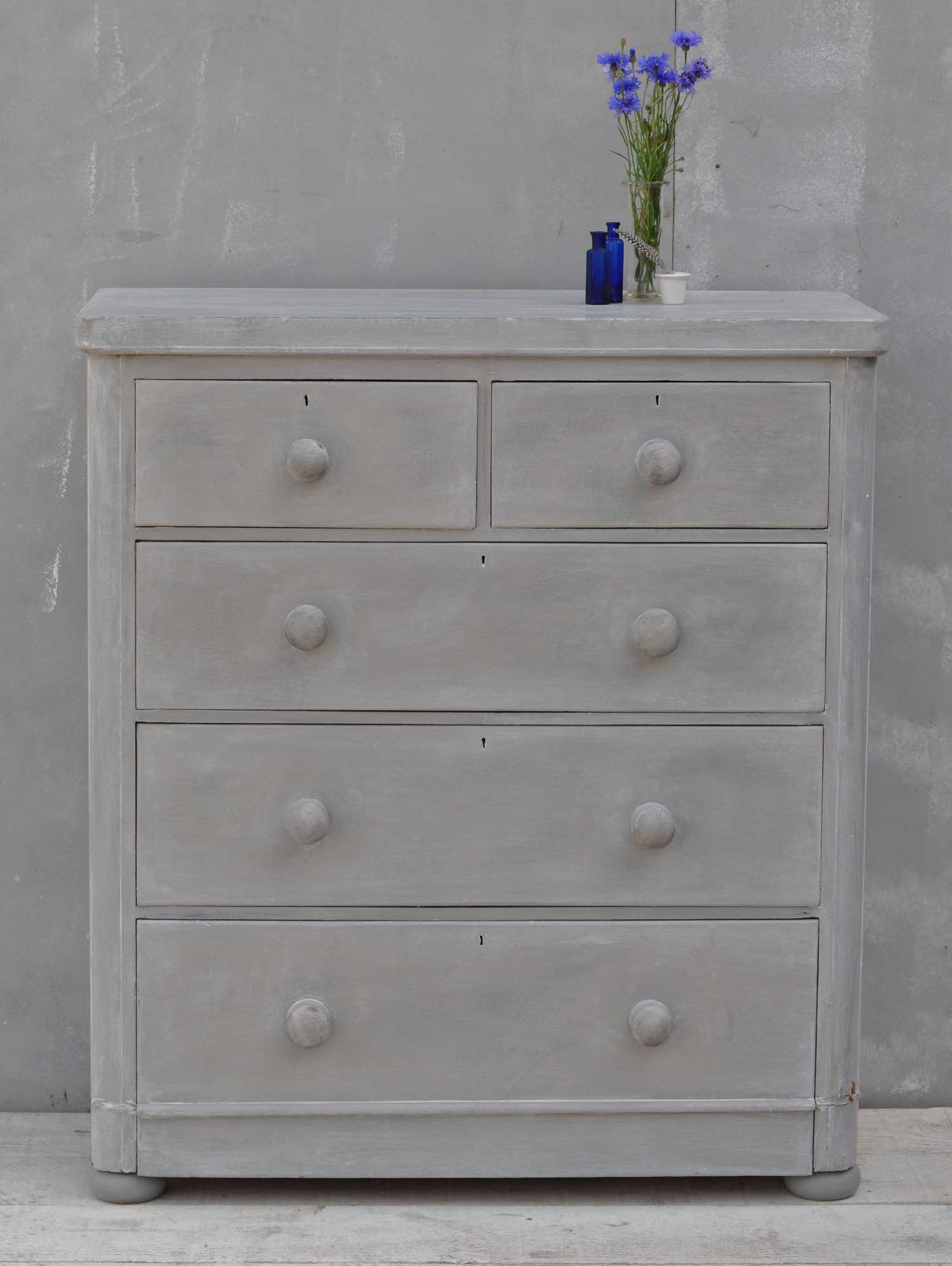 Victorian Antique Hand Painted Chest Of Drawers - Linen Press