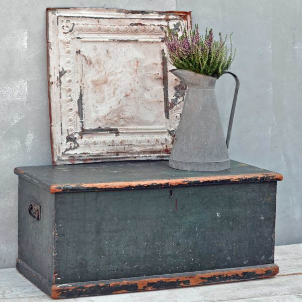 Antique Rustic Green Blanket Box Chest Trunk