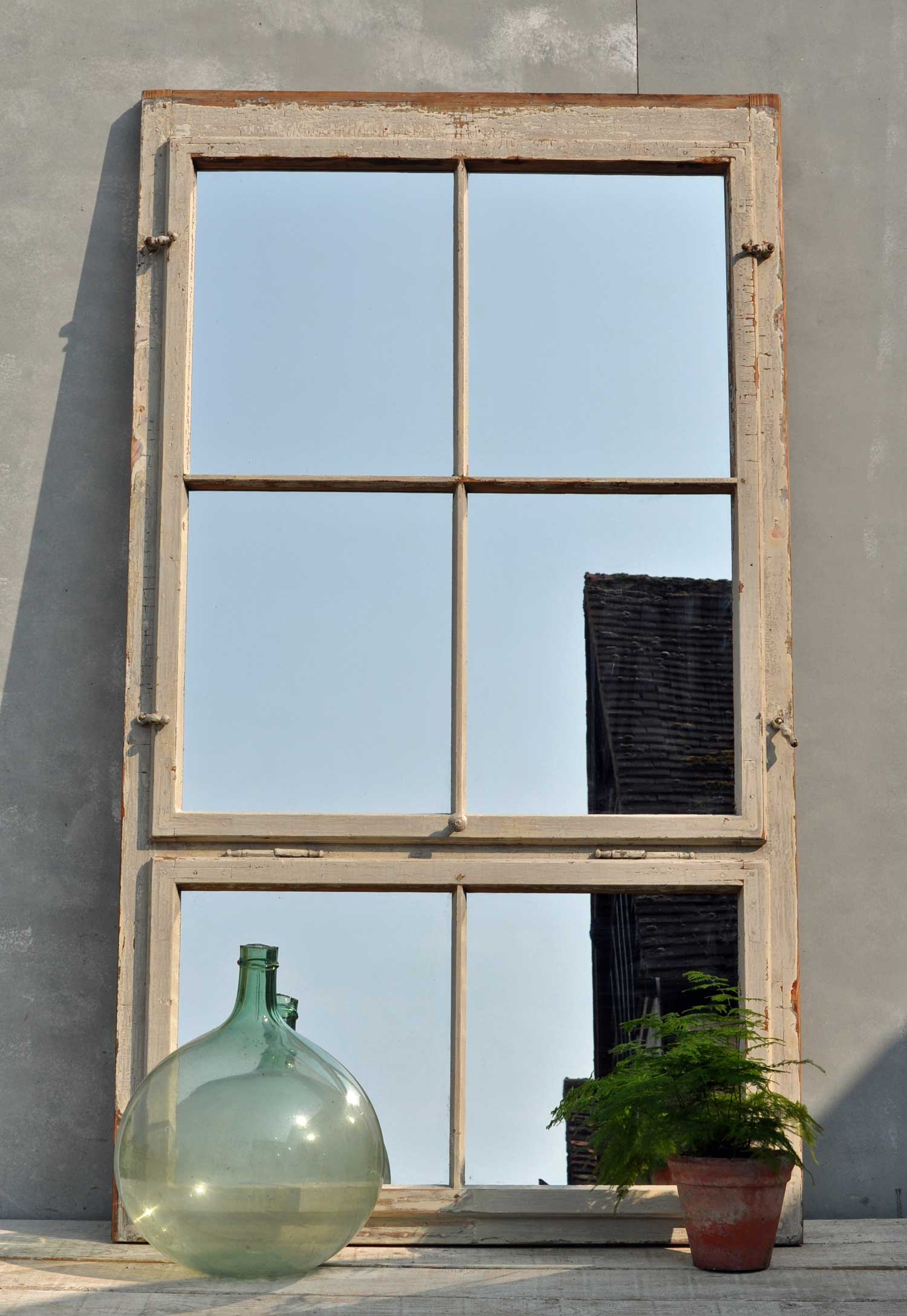 Huge Timber Industrial Warehouse Window Mirror