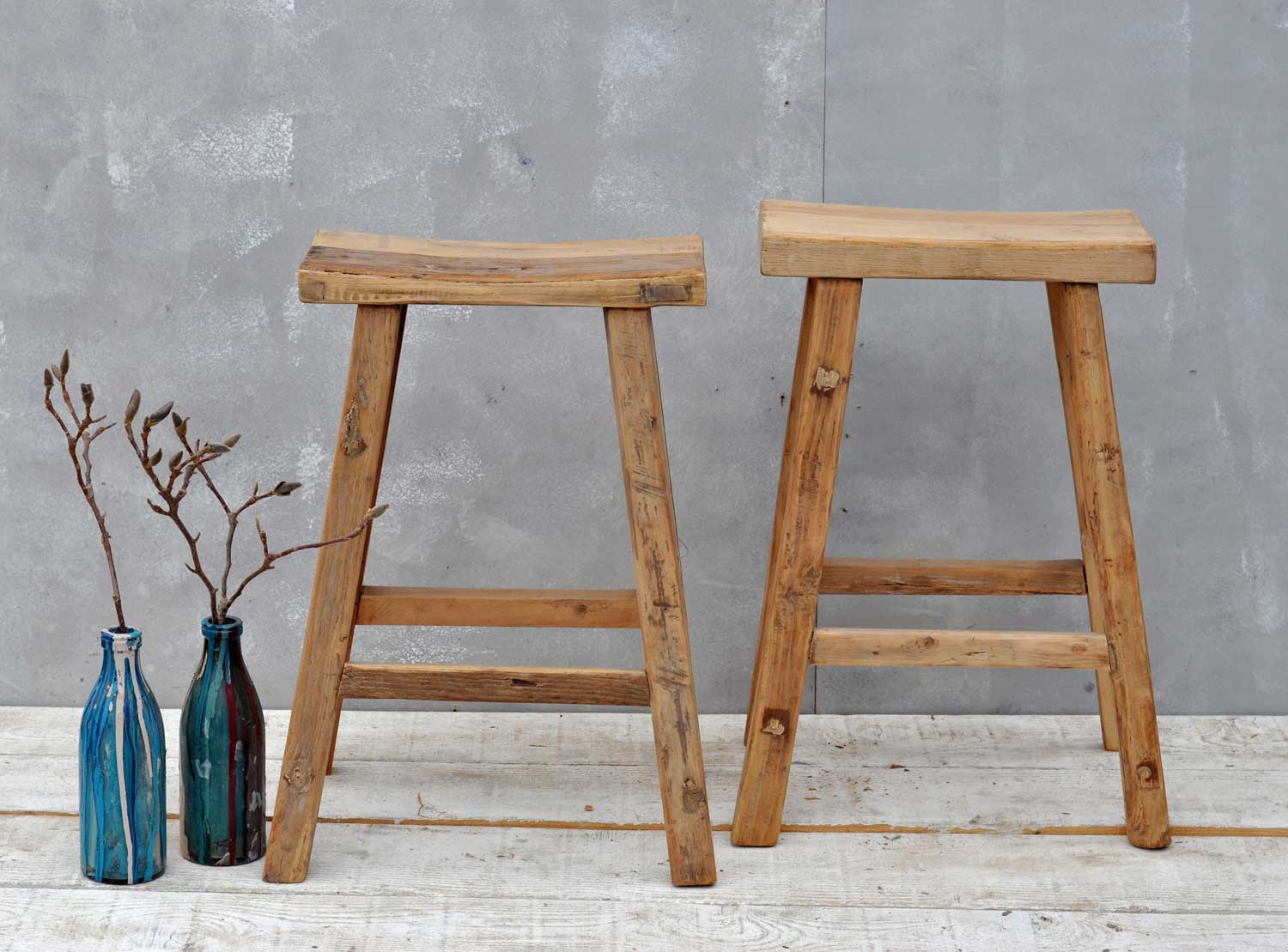 reclaimed elm tall bar stool