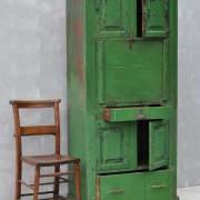 rustic-vintage-bureau-tall-cabinet-original-green-paintwork-2