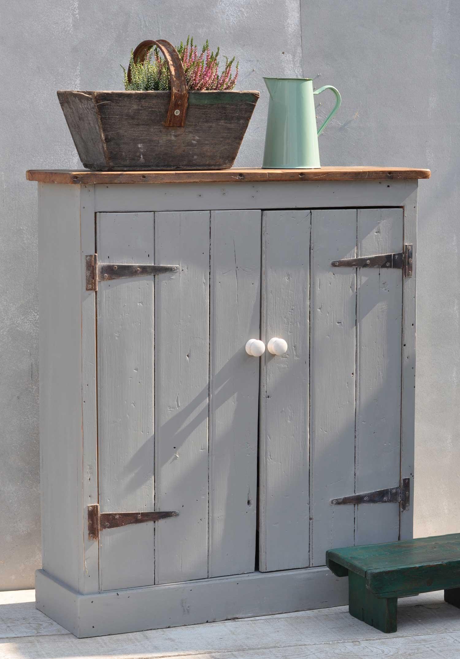 Salvaged Grey Timber Two Door Cabinet Cupboard