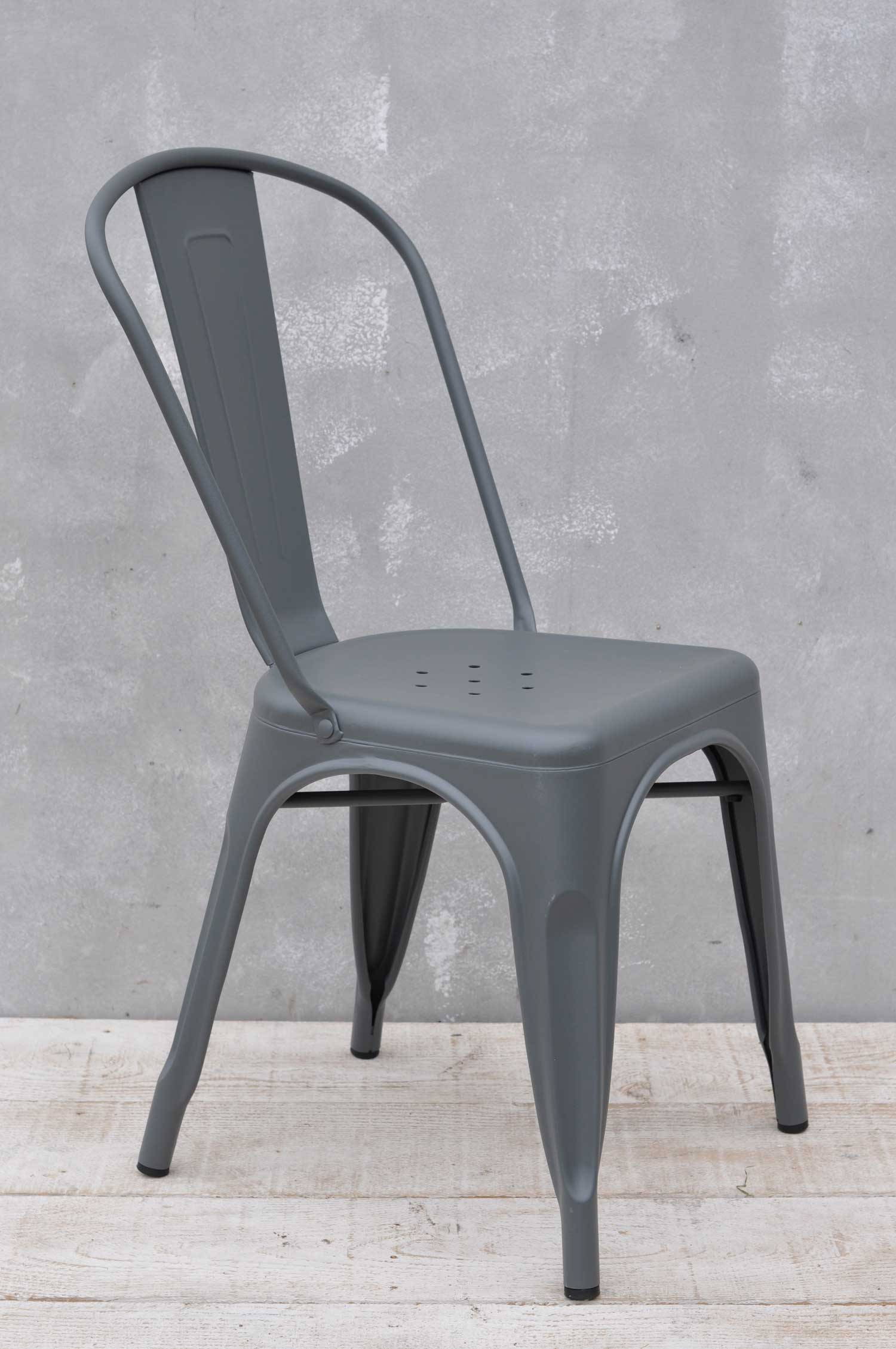 Tolix style metal industrial chair.