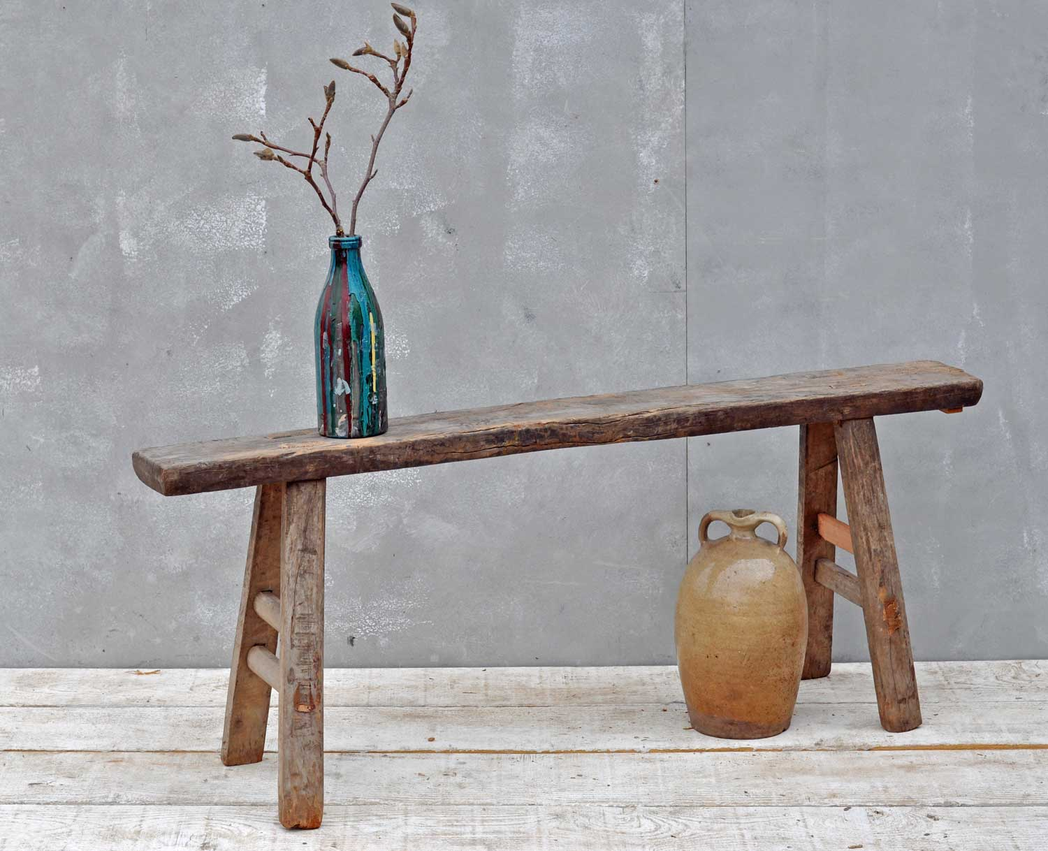Rustic Vintage Elm Long Bench