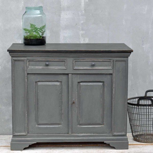 Vintage French Cupboard - Grey hand painted Cabinet