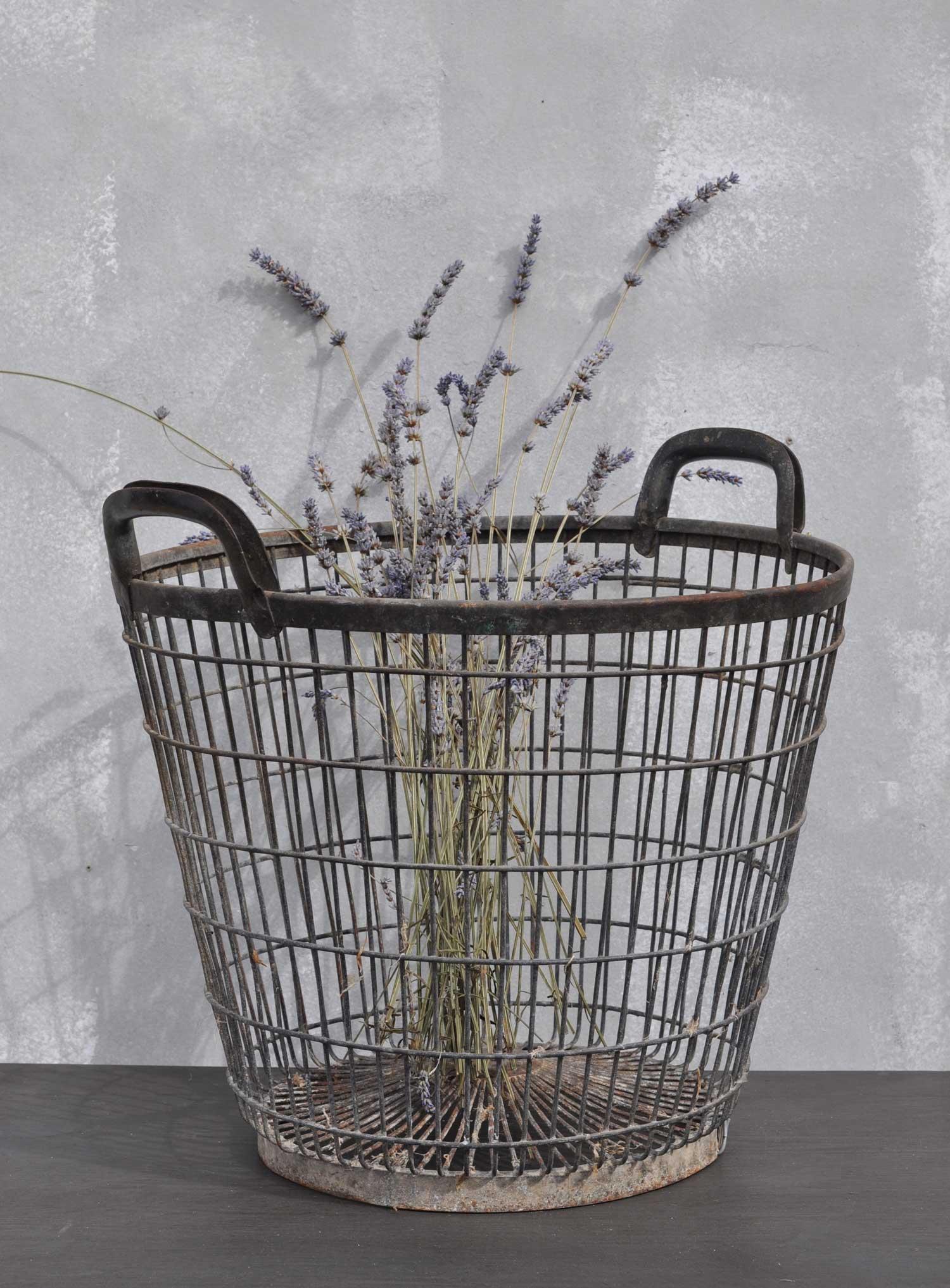 Vintage Galvanised Wirework Apple Basket With Wooden Handle