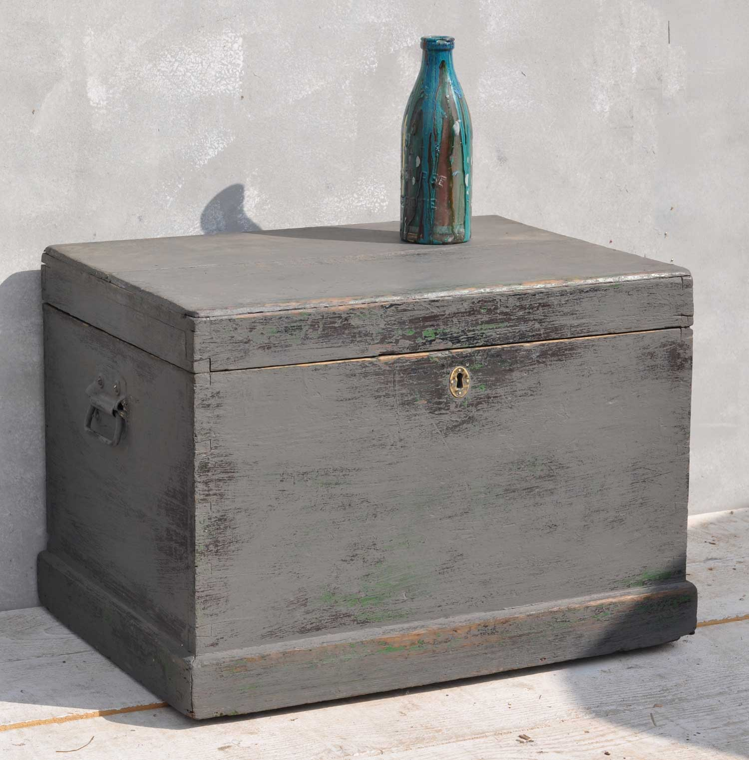French Painted Antique Blanket Box Trunk Coffee Table