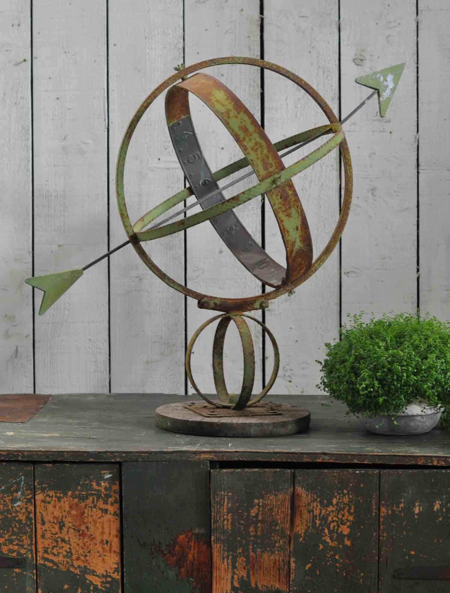 Antique Belgian Sun Dial With Verdigris Patinated Copper