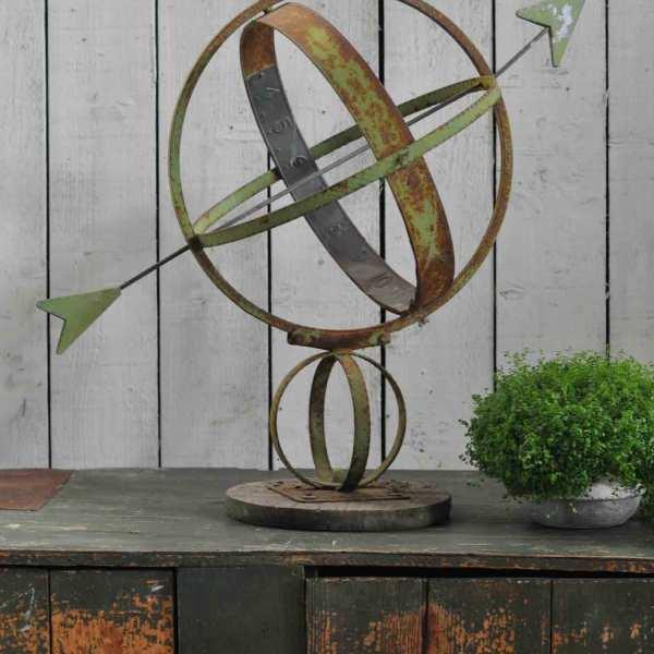 Antique Belgian Sun Dial With Verdigris Patinated Copper