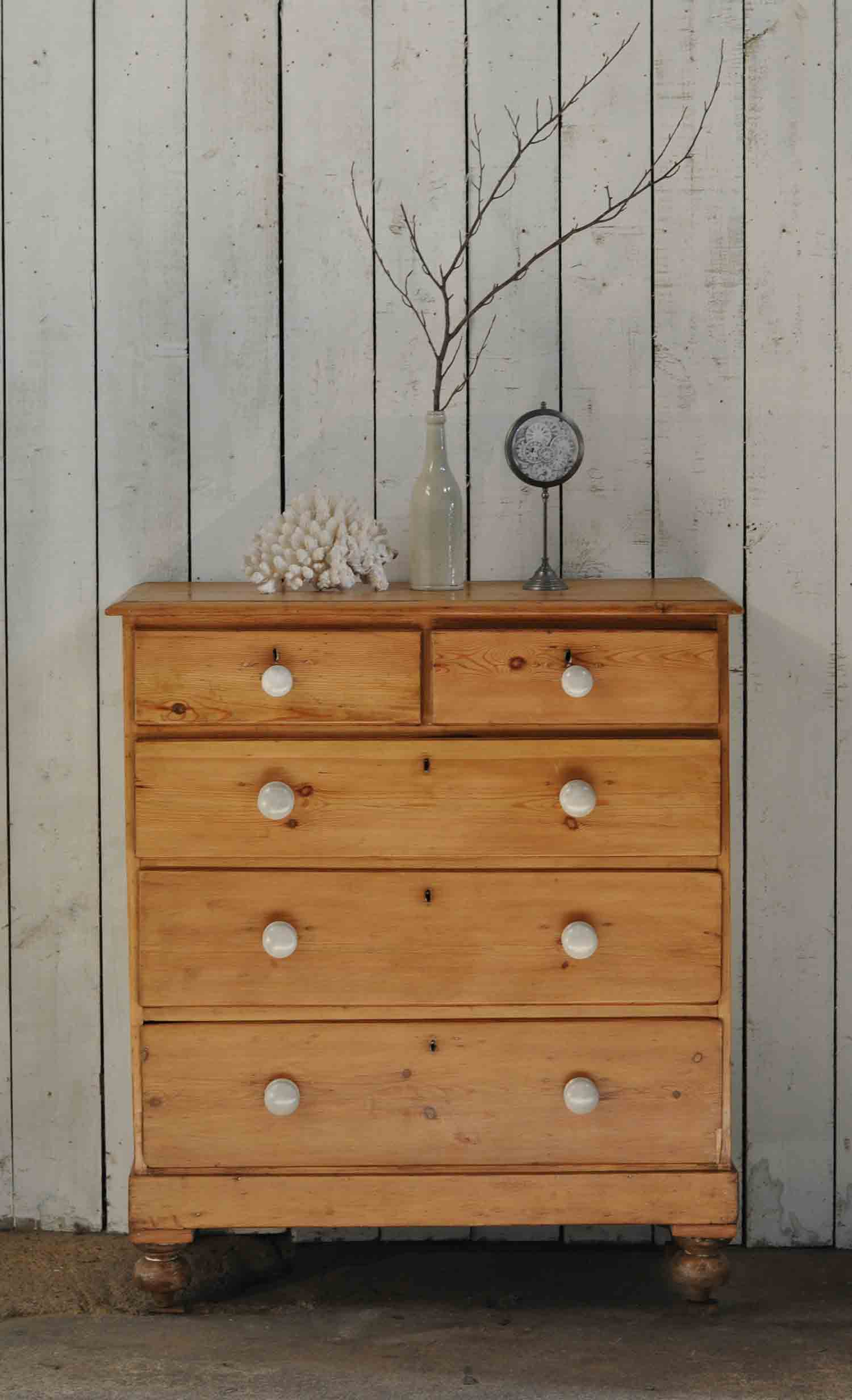 Antique Pine Chest of Drawers Linen Storage
