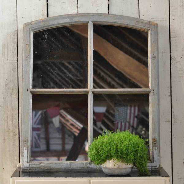 Arched Topped Vintage Industrial Timber Window Mirror