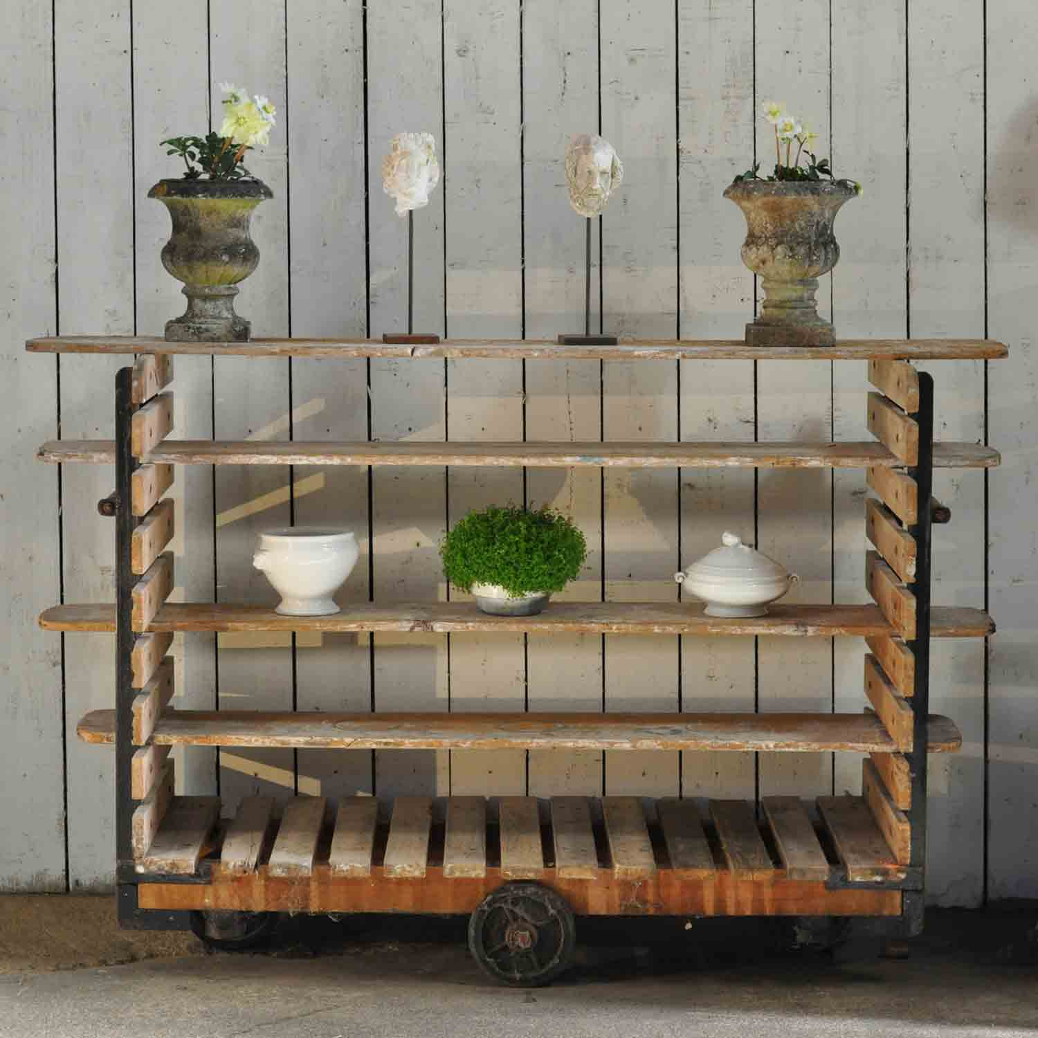 Industrial Vintage Pottery Workshop Wheeled Shelving