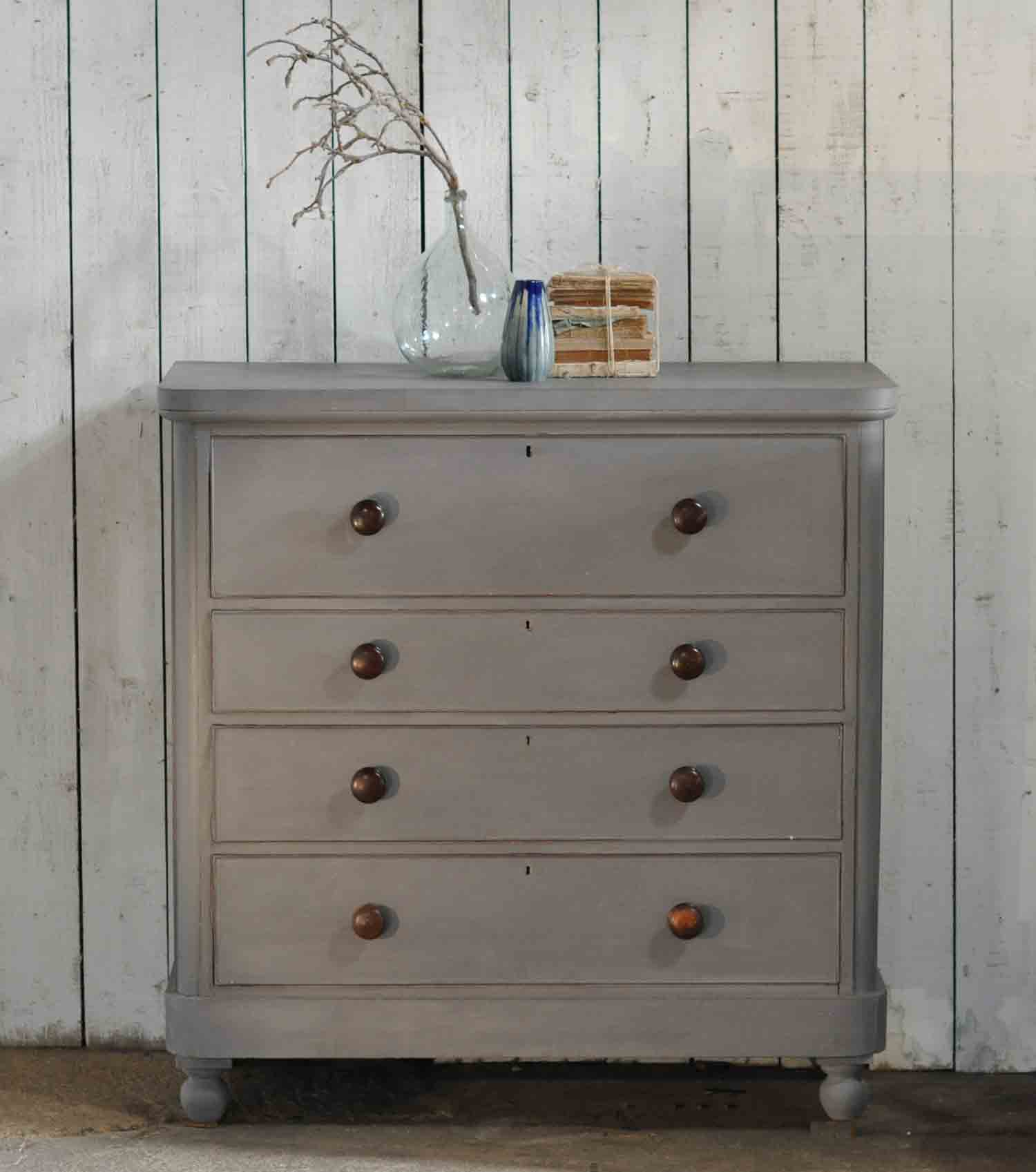Large Antique Painted Victorian Chest Of Drawers Linen Press