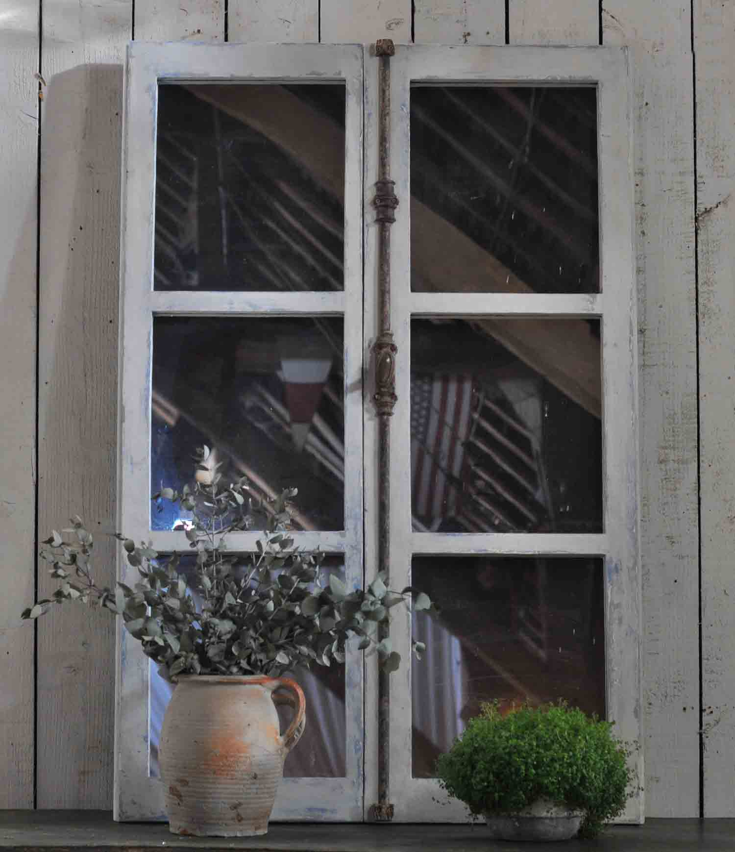Vintage Rustic French Farmhouse Window Mirrors Set of Two