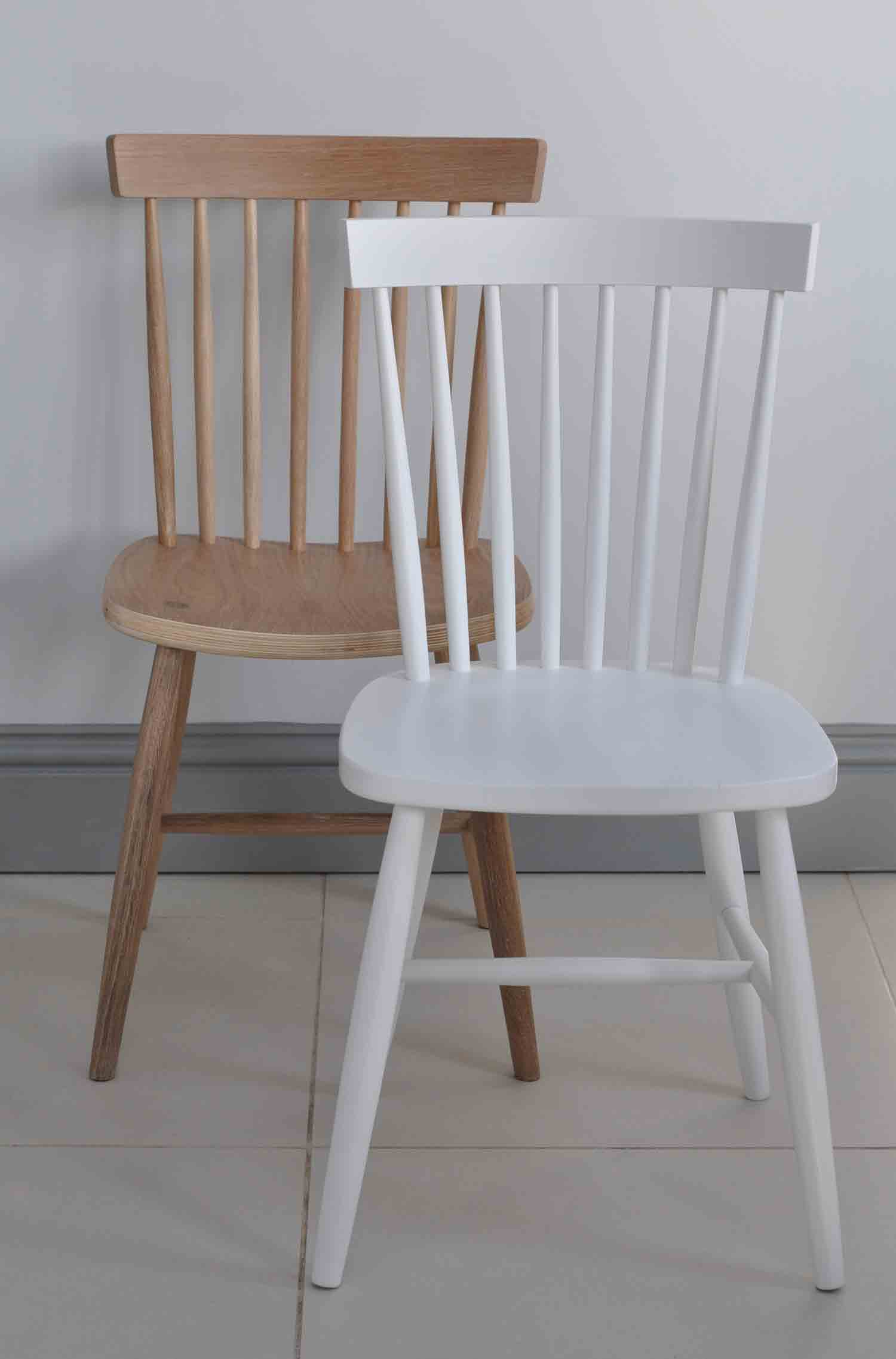 Oak Oxford Spindle Back Dining Chair - White Painted or Limed Natural Oak