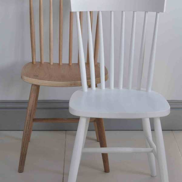 Oak Spindle Dining Chairs ~ Oxford spindle back dining chair white painted or