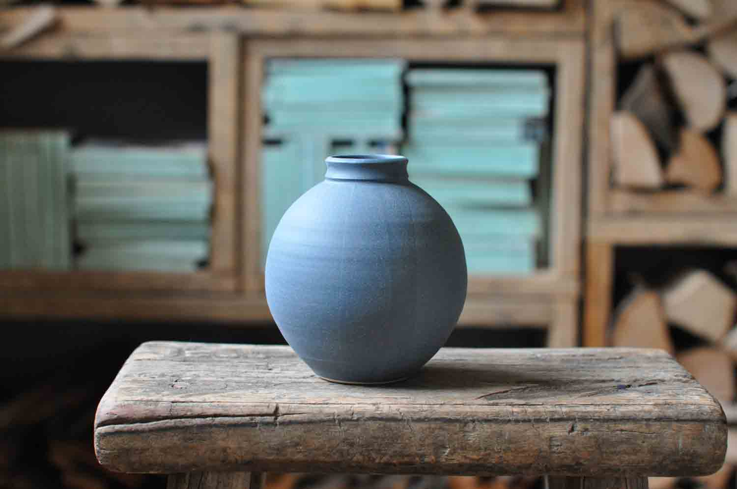 Katie Coston Hand Made Dry Matt Blue Vase