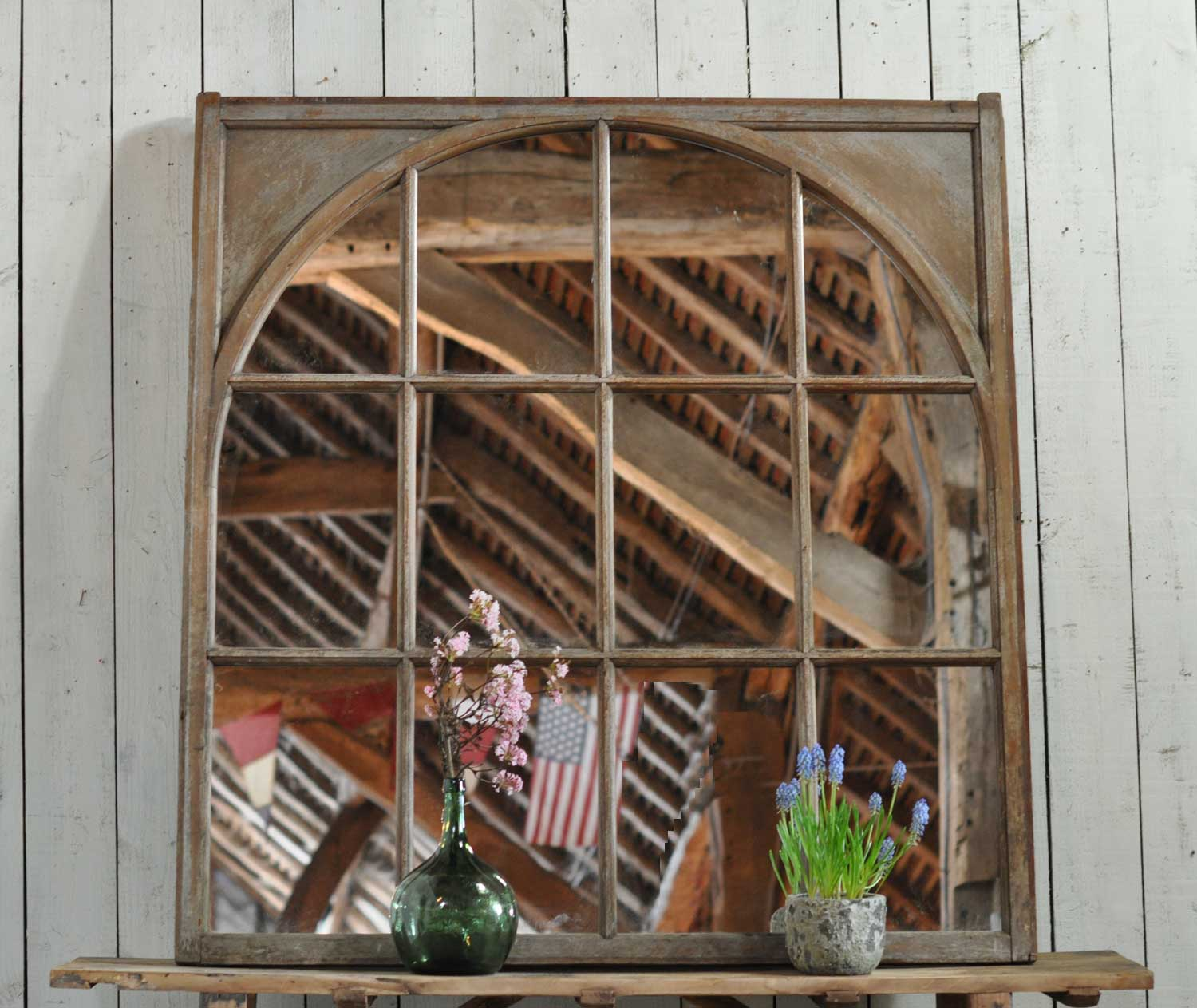 Sizeable Arch Within Square Antique Architectural Salvage Window Mirror