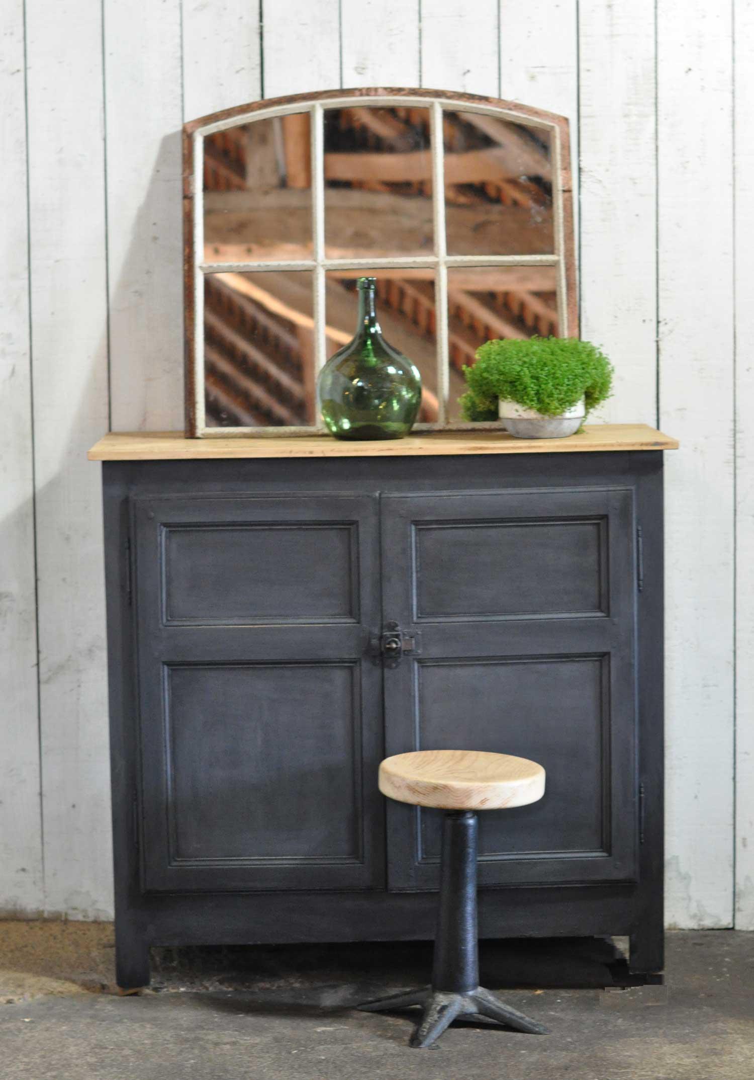 Victorian Pine Two Door Cabinet Hand Painted In Vintage Dark Grey