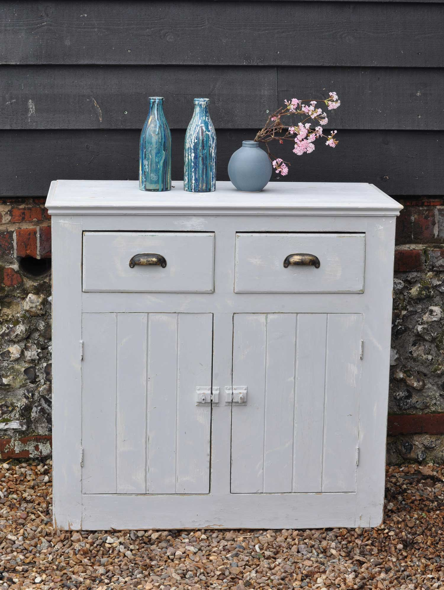 Vintage Two Door & Drawer Cabinet With Original Pale Grey Paintwork