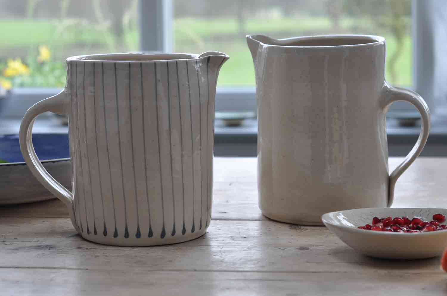 Wonki Ware Hand Made Artisan Stoneware One Litre Jug Stone Colour and Stripped