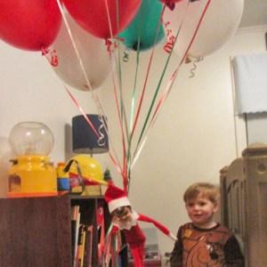elf on the shelf flying balloons
