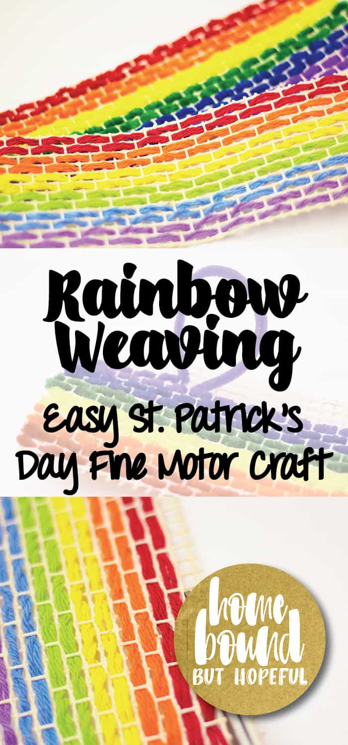 Keep little fingers strong and nimble while preparing for St. Patrick's Day with this easy rainbow weaving project! This craft is great for keeping older kids busy while strengthening their fine motor skills. And those gold coins just might attract a few week leprechauns in the days ahead!