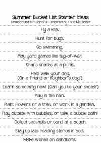 Summer Bucket List Pre Made