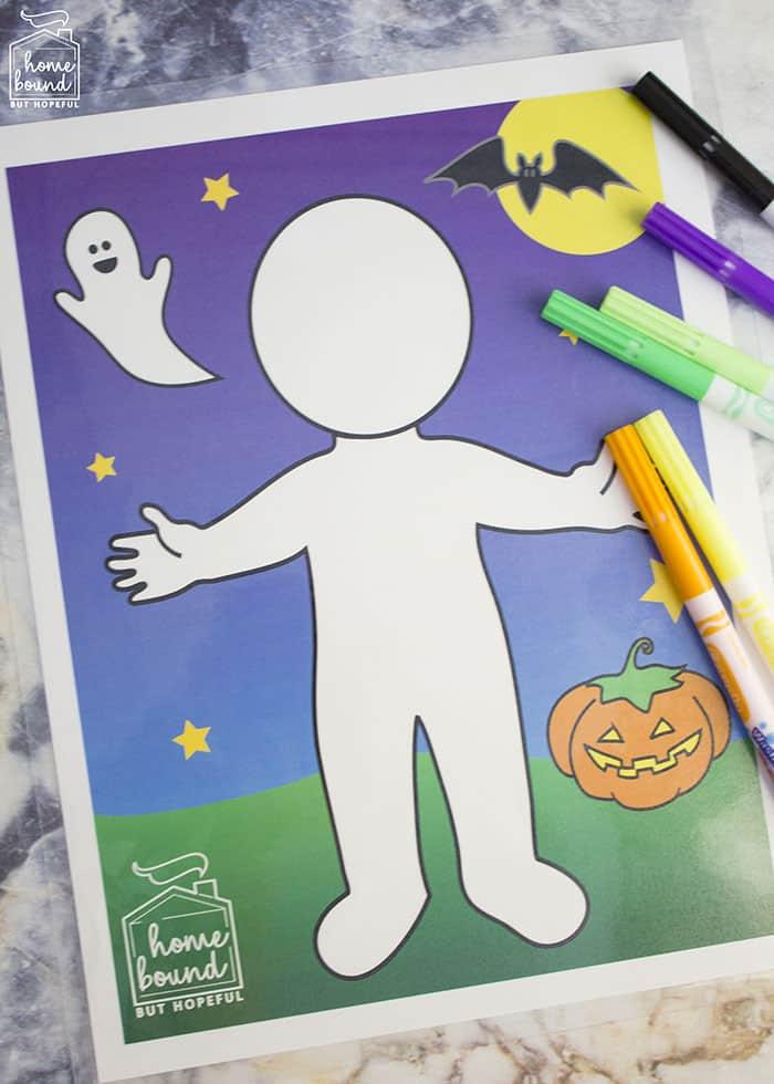 Halloween Costume Story Time- Printable Dry Erase Mat