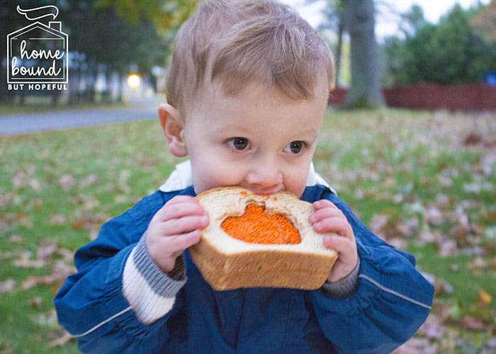 Sensory + Snack Pumpkin Picking Story Time- Sandwich Snack
