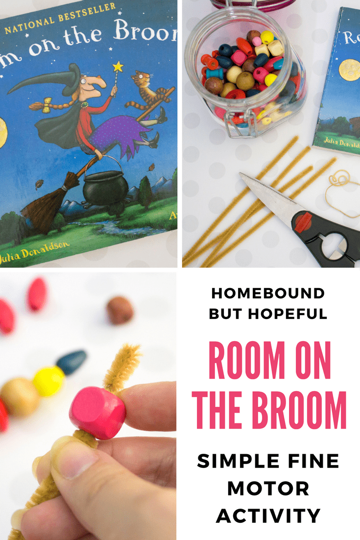 Here's a simple and fun fine motor activity for little fingers, inspired by the picture book No Room On The Broom. Perfect for a Halloween Story Time! #NoRoomOnTheBroom #Halloween #HalloweenStoryTime #KidLit #BeyondTheBook #FineMotor #SimpleCraft #KidsCrafts #KidsProjects