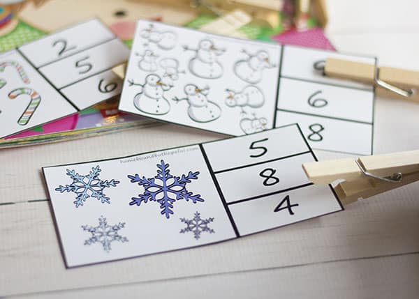 Counting Christmas Story Time- Printable Math Clip Cards