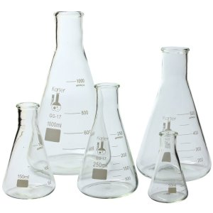 Glass Flask 5 Piece Set, Narrow Mouth Erlenmeyer, Borosilicate 3.3 Glass - 50ml, 150ml, 250ml, 500ml, & 1L, Karter Scientific 213B2