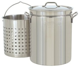 Bayou Classic 1144 44-Quart All Purpose Stainless Steel Stockpot with Steam and Boil Basket