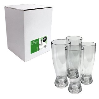 Unbreakable Beer Glasses - 100% Tritan - Shatterproof, Reusable, Dishwasher Safe (Set of 4) by D'Eco