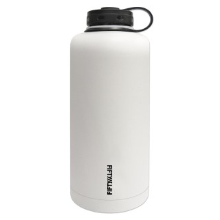 Lifeline 7508WH White Stainless Steel Vacuum Insulated Double Wall Barrel Style Growler - 64 oz. Capacity