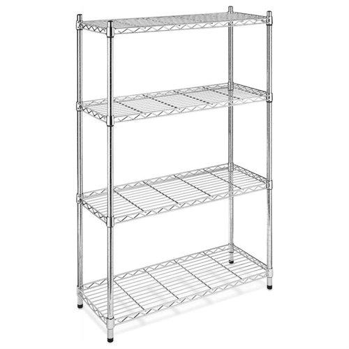Storage Rack 4-Tier Organizer Kitchen Shelving Steel Wire Shelves Cart - Chrome