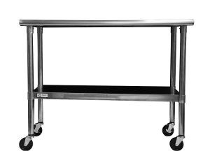TRINITY EcoStorage NSF Stainless Steel Table with Wheels, 48-Inch
