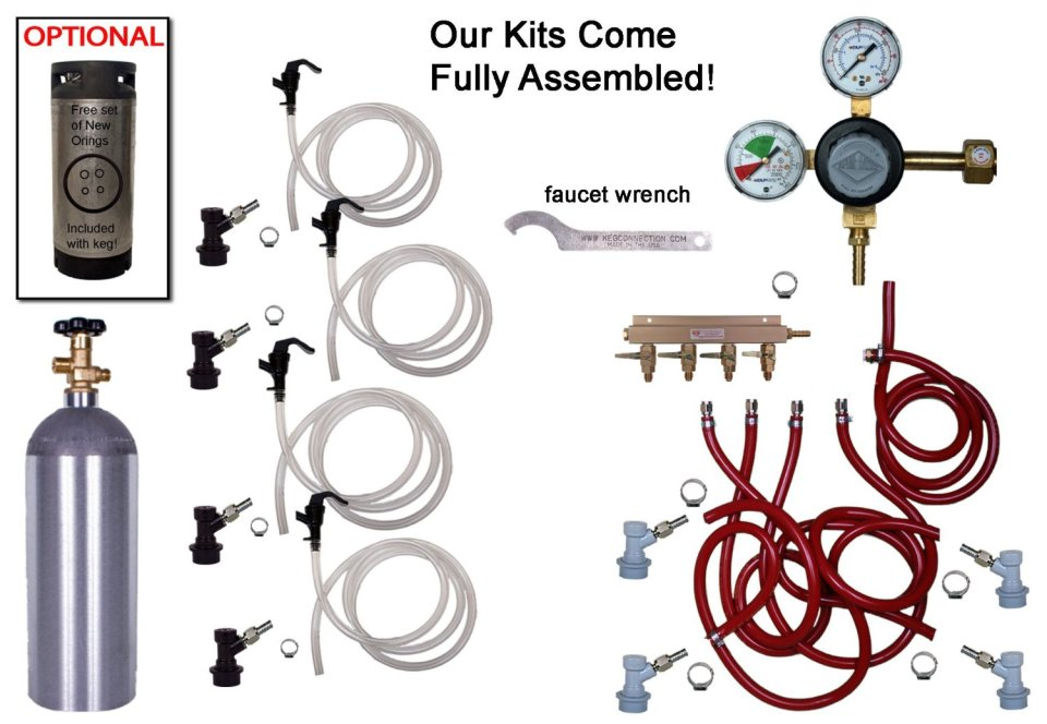 4 Keg Basic Keg Kit, Premium Kit with 5#co2, Taprite Regulator