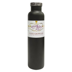 Lifeline 7512BK Black Stainless Steel Vacuum Insulated Double Wall Bottle Style Growler - 750ml. Capacity