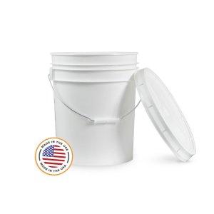 5 Gallon White Bucket & Lid - Set of 1 - Durable 90 Mil All Purpose Pail - Food Grade - Plastic