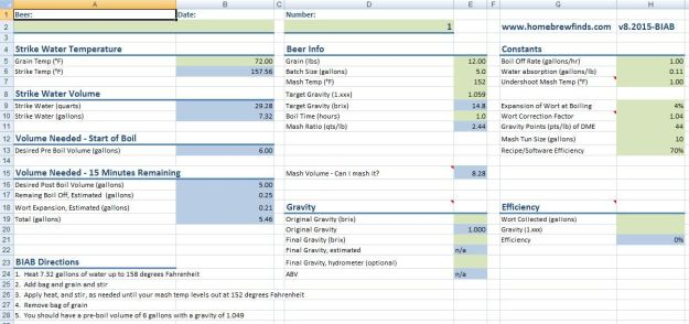 BIAB Water Calculation Spreadsheet Homebrew