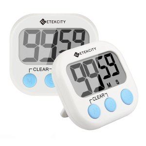 Etekcity Digital Kitchen Timer, Big Digits Loud Alarm Magnetic Backing Stand with Large LCD Display for Cooking Baking Sports Games Office (2 Pack, White, Battery Included)