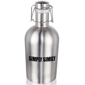 Simply Simily Swing Top Stainless Steel Beer Growler, 67 Oz