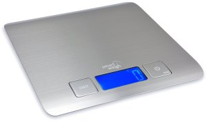 Smart Weigh TZ5000 Sleek Cuisine Stainless Steel Digital Kitchen Scale with Large Backlit LCD Screen